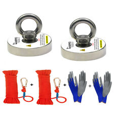 2X Fishing Magnet Kit 500 Lbs Pull Force Neodymium W/ Rope, Carabiner & Gloves