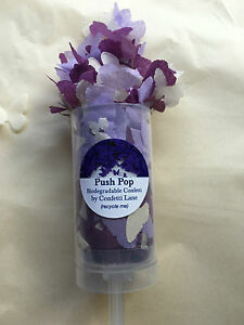 Confetti Push Pop Biodegradable Light Purple Butterfly Cannon Eco 1 to 25