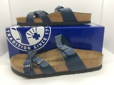 Birkenstock Womens Franca Blue Leather Slides Sandals Shoes Sz 8 EU39 ZB6-225