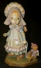 "Anri Sarah Kay Girl W/Doll in Wagon Woodcarving 4"""