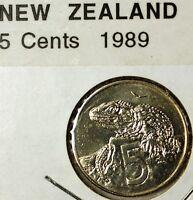 1989 New Zealand 5 Cents Tuatara Lizard Queen Elizabeth Proof Coin