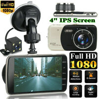 HD 1080P 4'' Dash Cam Recorder Dual Lens Camera Car DVR Vehicle Video G-Sensor