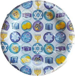"Hanukkah Theme Menorah Dreidels Star of David 8"" Paper Plates Open pack"