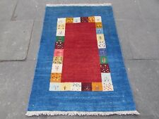 Old Hand Made Traditional Persian Rugs Oriental Blue Wool Gabbeh Rug 137x94cm
