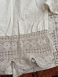Shabby Chic Crochet Dust Ruffle Full Size Ecru/Beige Bed Skirt, 100% Cotton