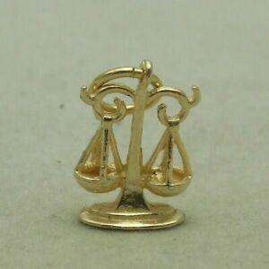 3D 9 CARAT YELLOW GOLD ZODIAC LIBRA CHARM / PENDANT