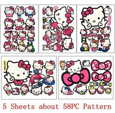 5 Sheets 58PC Cute Hello Kitty Car Stickers Decals Luggage Laptop Guitar