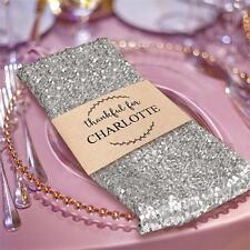 """5 SILVER SEQUINED 20x20"""" Wedding NAPKINS Party Table Linens Catering Supply"""