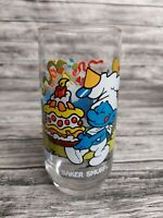 Smurf Promotional Collectible Drinking Glass Peyo Vintage 1983 - BAKER SMURF