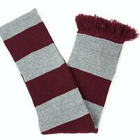 Beechfield Men's Scarf Gray Maroon Striped Knit Winter