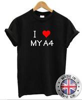 I Love Corazón My A4 T Camisa S-Xxl Audi Hombre Mujer Coche Regalo