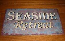 SEASIDE RETREAT Tin Sign Weathered Look Beach House Tropical Nautical Home Decor