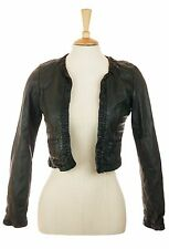 BERSHKA (ZARA) BLACK CROPPED BOLERO REAL LEATHER JACKET M 10-12