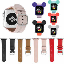 Luxury Buckle Genuine Leather Band Mickey Mouse Silicone Case for Apple Watch