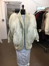 ADRIENNE LANDAU COLLECTIBLE SHEARED MINK FOX  WHITE JACKET COAT RARE FIND
