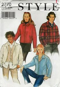 """Style Sewing Pattern 2770 Jacket Unisex 34"""" to 52"""" Chest, Zip Front, Uncut"""