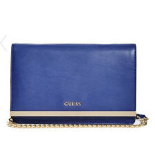 NWT GUESS Line Flap Crossbody Handbag Purse Chain Strap Blue