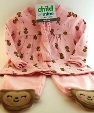 Child of Mine Baby Girl Monkey Pink Outfit size 3-6 months NWT BABY SHOWER GIFT