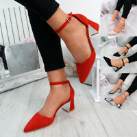 WOMENS LADIES ANKLE STRAP POINTED HIGH BLOCK HEEL PUMPS COURT SHOES SIZE