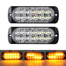 2x CREE 12 LED AMBER RECOVERY STROBE GRILL BREAKDOWN FLASHING Light Lamp 12/24v