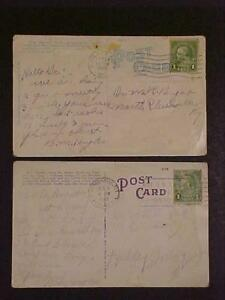 POSTCARD GREEN FRANKLIN 1 CENT CANCELED US STAMPS STAMP LOT VINTAGE ORIG 1935-36