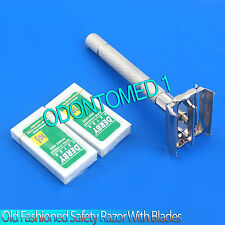 OLD FASHIONED SAFETY RAZOR HEAVY DUTY BUTTERFLY STYLE WITH 20 PCS RAZOR BLADES