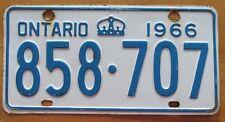 Ontario 1966 License Plate NICE QUALITY # 858-707
