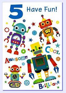 Age 5 Boys Birthday Card - SIMON ELVIN - Robots Boy 5th 27352-3