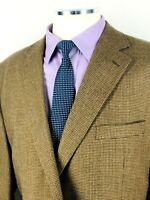 48R Joseph & Feiss Mens 2 Button Wool Blazer Sport Coat Chestnut Tan Houndstooth