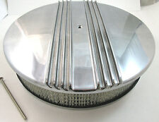 "14"" x 3"" Classic Finned Polished Aluminum Air Cleaner Kit 4 Brl Chevy Ford Mopar"