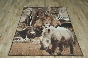Quality Lion Rhino Cheetah Rug 120cm x 170cm Jungle Safari Multi Animal (190)