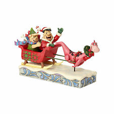 Jim Shore Flintstones Sleigh Ride Christmas In Bedrock Dino Fred Barney Figurine