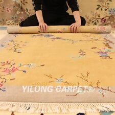 YILONG 4'x6' Wool Carpet Chinese Art Deco Flooring Vintage Hand Knotted Area Rug