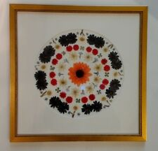 Pressed flower art daisies, 4 leaf clovers with white circle mat with gold frame