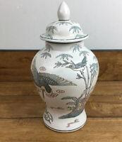 Vintage WBI Pastel Flowers & Birds Porcelain Lid Ginger Jar 1950's