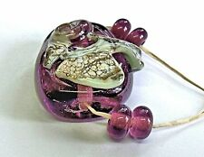 "UNIQUE HANDMADE LAMP WORK GLASS FOCAL BEADS, ""AMETHYST/CREAM/SILVER"""