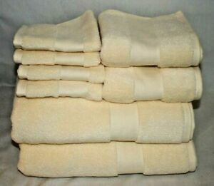 Ralph Lauren Wescott Buttercup Yellow 8 Piece Bathroom Towel 100% Cotton Set New