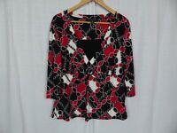 Briggs New York Women's Printed 3/4 Sleeve Blouse Shirt Red White Black Size 1X