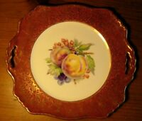 VINTAGE ROYAL WINTON SQUARE HANDLED SERVING DISH BURGUNDY & GOLD  FRUIT DESIGN