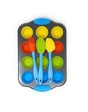 Kids Cupcake Baking Set Non Stick Tray 12 Reusable Silicone Cases 3 Utensills