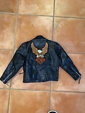 Hudson Leather HARLEY DAVIDSON Jacket Kids Zip Belted Jacket S Motorcycle Black