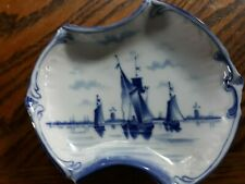 Vintage K&C Germany Blue and White Dish with Sailboats