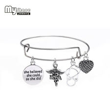 Medical Assistant Word Message Pendant Stainless Steel Expand Wire Bangle