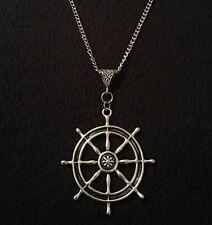 "Large Rudder Necklace 30"" Nautical Rockabilly Pin Up Sailor Anchor Ship Wheel UK"