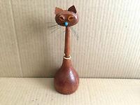 Vintage Wooden Cat Handmade Pen & Holder