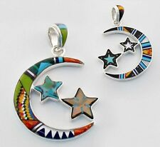 HANDMADE TURQUOISE PAUA SPINY ONYX INLAY .925 STERLING SILVER MOON STARS PENDANT