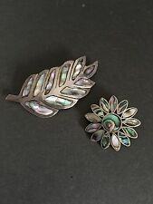 TWIN SET SILVER BROOCHES ABALONE FLORAL LOOK VINTAGE COSTUME JEWELLERY Alpaca