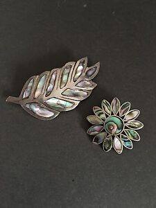 ALPACA MEXICO SILVER  BROOCHES ABALONE SHELL FLOWER LEAF SHAPE VINTAGE BROOCH
