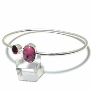 Rhodonite, Garnet Gemstone Handmade 925 Silver Cuff Bracelet Adjustable