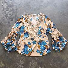 M NWT Bohemian Womens Floral Lace Crochet Cotton Gypsy Peasant Blouse Top MEDIUM